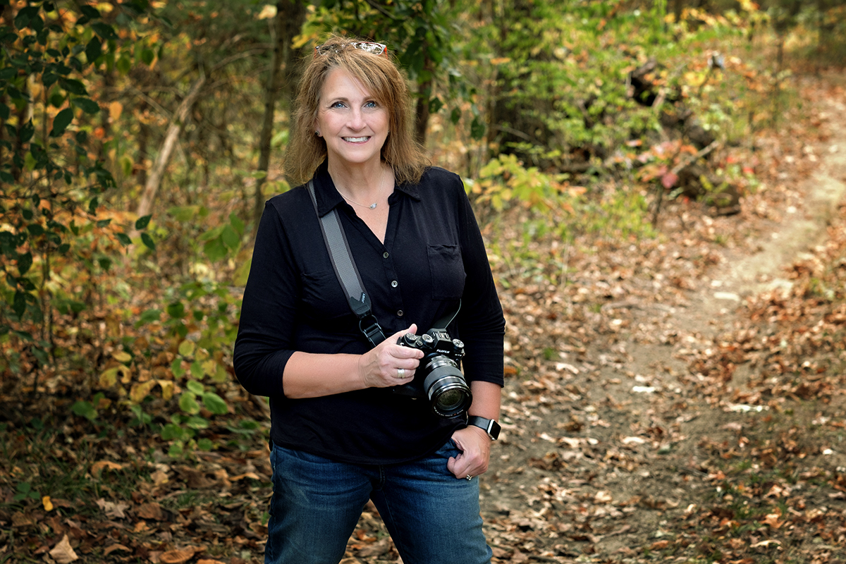 Cindy Dover in woods
